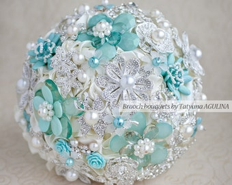 Brooch bouquet. Mint and Ivory Brooch Bouquet, Bridal bouquet. Made upon request