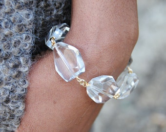 Chunky Clear Quartz Nugget Bracelet-Clear Stone and Chain Bracelet-Faceted Crystal Quartz-Rock Crystal-Gift for Her-Unique Gift