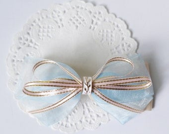 SALE 50% OFF Gold leaf Ligh Blue Organza Ribbon and Ivony Satin Ribbon Bow Hair Clip Hair Accessories