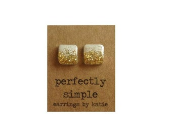 White with Gold Glitter (hand drawn) square earrings