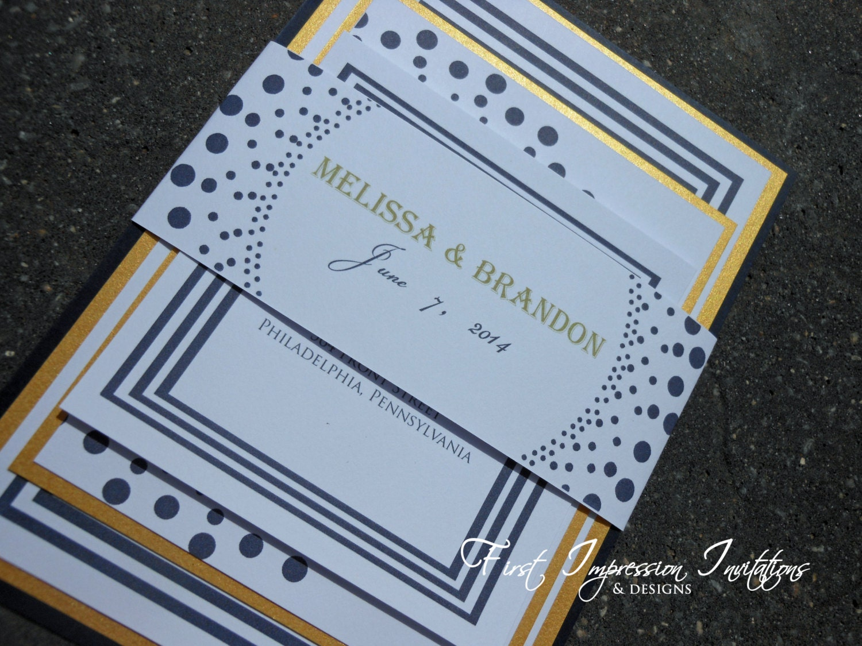 Navy Blue And Gold Wedding Invitations: Navy Blue & Gold Polka Dot Wedding By 1stImpressionInvites