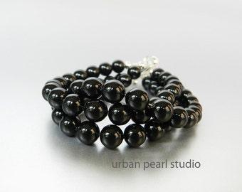 Black Pearl Bracelet Multi Strand Pearl Cuff Bracelet Swarovski Pearls