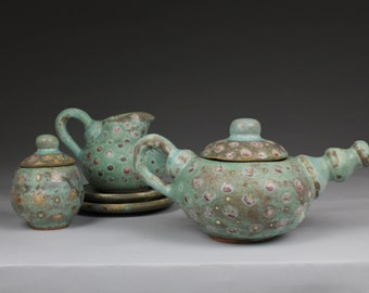 Ceramic Teapot: Teal with Red Dots