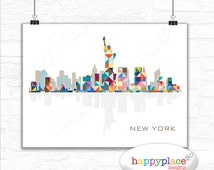 New York Skyline Fine Print or printable image. NY City Scape wall art Poster. NewYork cityscape abstract art print More Cities avail.