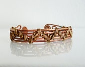 Tribal bracelet cuff, Wire wrapped bracelet, Copper and brass wire bracelet, chevron bracelet cuff, Eco friendly oxidized, Rustic cuff