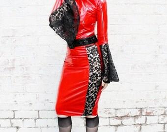 ADELE PIERRI 'Vampirella' Glam Goth Rock Fetish style Bright Red PVC and Black Lace Pencil Panel skirt