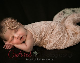 Baby Pink Lace Wrap with A Scalloped Edge for Newborn Photo Shoot, Photo Prop, Newborn Wrap, Infant Wrap
