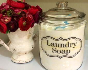 Laundry Room, Laundry Soap, Detergent, or Fabric Softener, Label Vinyl Tag, for Jars, Canisters
