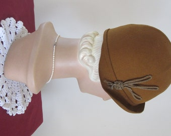 SALE - Gertrude - 1920's Copper Brown Wool Cloche Hat with Gold Rope Art Deco Decoration