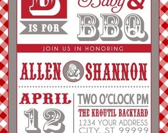 COUPLES bbq BABY SHOWER invitation red gingham backyard bbq