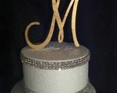 Painted Single Monogram Cake Topper. Gold Cake Topper. Silver Cake topper. Wedding Cake Topper. Birthday Cake topper. Cake. Toppers.Monogram