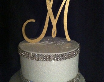 Painted Single Monogram Cake Topper. Gold Cake Topper. Silver Cake topper. Wedding Cake Topper. Birthday Cake topper. Cake. Toppers.Monogram