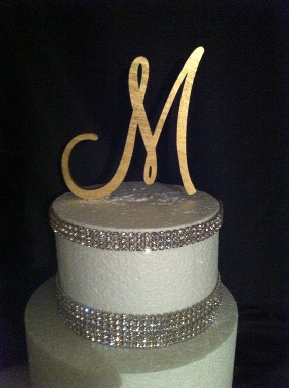 gold initial cake toppers for wedding cakes free shipping in us painted single monogram cake topper gold 14796