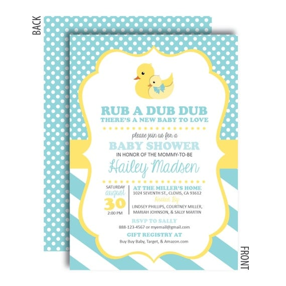 rubber duck baby shower invitations by graphicdesignbybecky