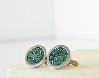 Nerdy Cuff links - Dark Green - Circuit Board - Geekery Men - Men Accessories - Cufflinks - Circle - Men's Jewelry