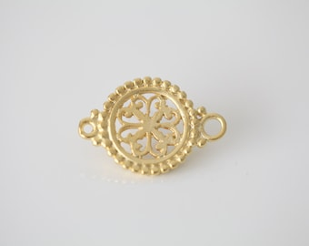 Vermeil Gold Filigree Connector Pendant - 18k gold plated over sterling silver, round flower shaped filigree charm