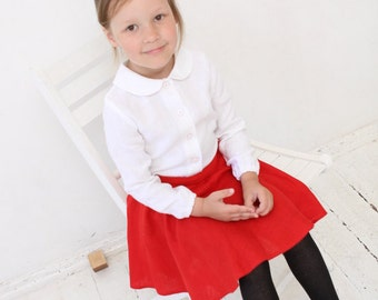 Girls blouse with Peter Pan collar Toddler girls long sleeve white linen blouse Girls clothing Back to school