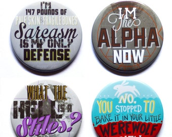 "Teen Wolf Buttons | Set of Four 2"" Pinback Buttons or Magnets"