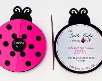 Set of 12+ Pink Ladybug Party Invitation, Pink Ladybug 1st Birthday Party, Pink Ladybug Invitation, C007