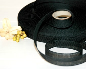 "Black Cotton Ribbon - 3 or 6 Yards of 100% Cotton Ribbon - 1/2"" wide - Loose Weave Black Ribbon - Buy More and Save - Ribbons by the Yard"