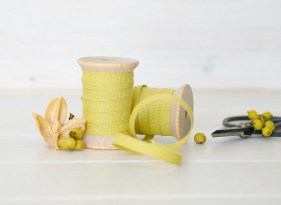 "Chartreuse Cotton Ribbon - 5, 20 or 109 Yards - 100% Cotton Ribbon - 1/4"" wide - Eco Friendly Ribbons - Italian Cotton Ribbons - Bulk Trims"