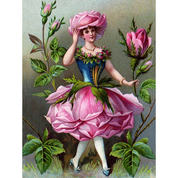 Flower Fairy Fabric Block Rose Girl from Victorian Trade Card Image