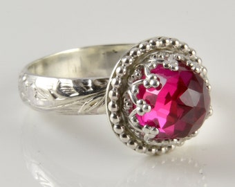 Ruby Ring, Sterling Silver, Faceted Pink Ruby Stone in Crown Setting Ring
