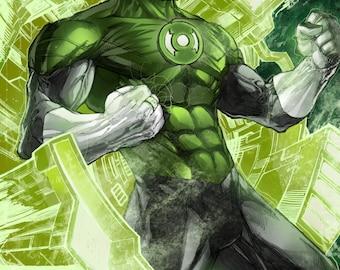 Green Lantern Print by Hanzozuken