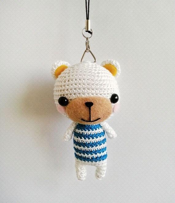 Amigurumi Keyring Pattern : Crochet Bear Bag Charm White Bear Amigurumi Doll by krokrolamb