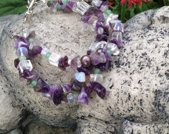 Amethyst, Fresh Water Pearl Triple Strand Bracelet with Toggle