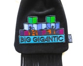 LoopyQ Limited Edition Big Gigantic Black Suede Leather Fringe Medicine Pouch, FannyPack, BeltBag, MiniPurse, CrossBody Satchel by BBD