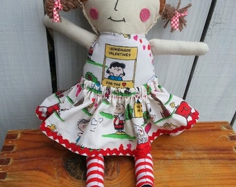 Handmade Rag Doll Snoopy Valentine's Dress by MellySueMade
