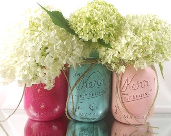 Spring Decorations, Pink Mason Jars, Spring Wedding Centerpiece, Bridal Shower Decor, Glass Vase, Painted Mason Jars, Table Centerpiece