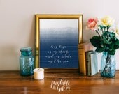 Bible Verse wall art, printable Scripture Print ombre Christian wall decor poster, inspirational, deep and wide as the sea INSTANT DOWNLAOD