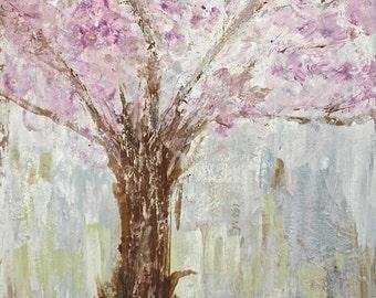 Tree Painting. Blossom Tree Painting. Modern Abstract Painting. Chic Abstract Painting. Botanical Painting.