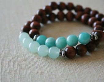 Blue Amazonite & Aquamarine mala bracelet //