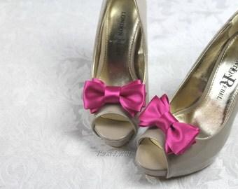 Fuchsia Shoe Clip, Fuchsia Bow Shoe Clips, Fuchsia Wedding Accessories Shoes Clip, Pink Bow Clip Shoes
