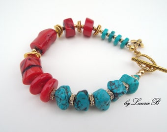 REAL TURQUOISE and CORAL Statement chunky Bracelet, Boho Turquoise  and Red Coral  Bracelet, Red  Gemstone Bracelet