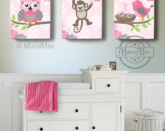 Owl Decor Baby Girl Nursery Art   Owl Monkey Bird, Canvas Art Set, Baby Photo Gallery