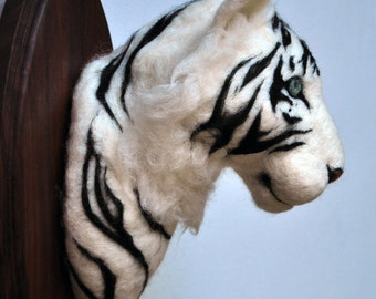 White Tiger Wall Mount - Felted Faux Taxidermy