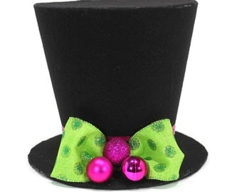 Polka Dot  top hat. Tree topper, Christmas tree decoration, bright colored Christmas decoration