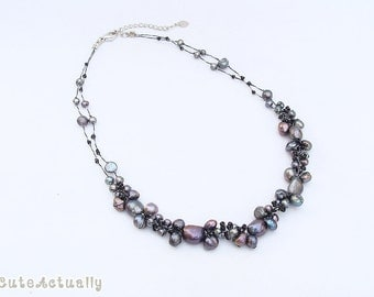 Black freshwater pearl necklace with glass beads on silk thread, black pearl necklace, short