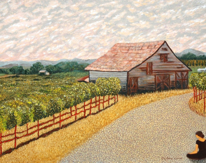 "Peaceful country scene: 7.5"" x 10"" signed & numbered print of my original oil painting ""QUIET INTERFERENCE #5""."