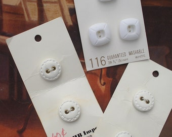 White Vintage Buttons on Cards,  7 buttons in Two Styles