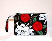 Skulls and Roses on Black Wristlet iPod iPhone 4, 4s, 5 Bag, Digital Camera Bag