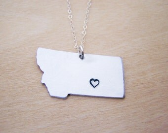Hand Stamped Heart Montana State Sterling Silver Necklace / Gift for Her