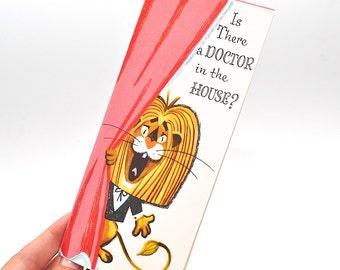 Vintage Get Well Card, Unused Vintage Greeting Card, Funny Get Well Card, Get Well Soon Card, Lion Card, Humorous Get Well Card, Stationary