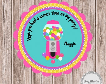 PRINTABLE Gumball Machine Birthday Favor Tags or Stickers