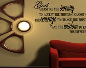 Wall Quotes Serenity Prayer Home Bedroom Wall Decal Wall Quote inspirational quotes verses of bible wisdom Words (B52)