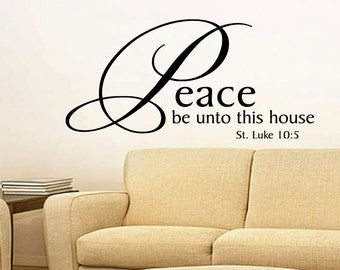 Wall Quotes Peace Be Unto This House Religion Quote Bible Vinyl Wall Decal Quote Removable Christian Wall Sticker Home Decor (447)